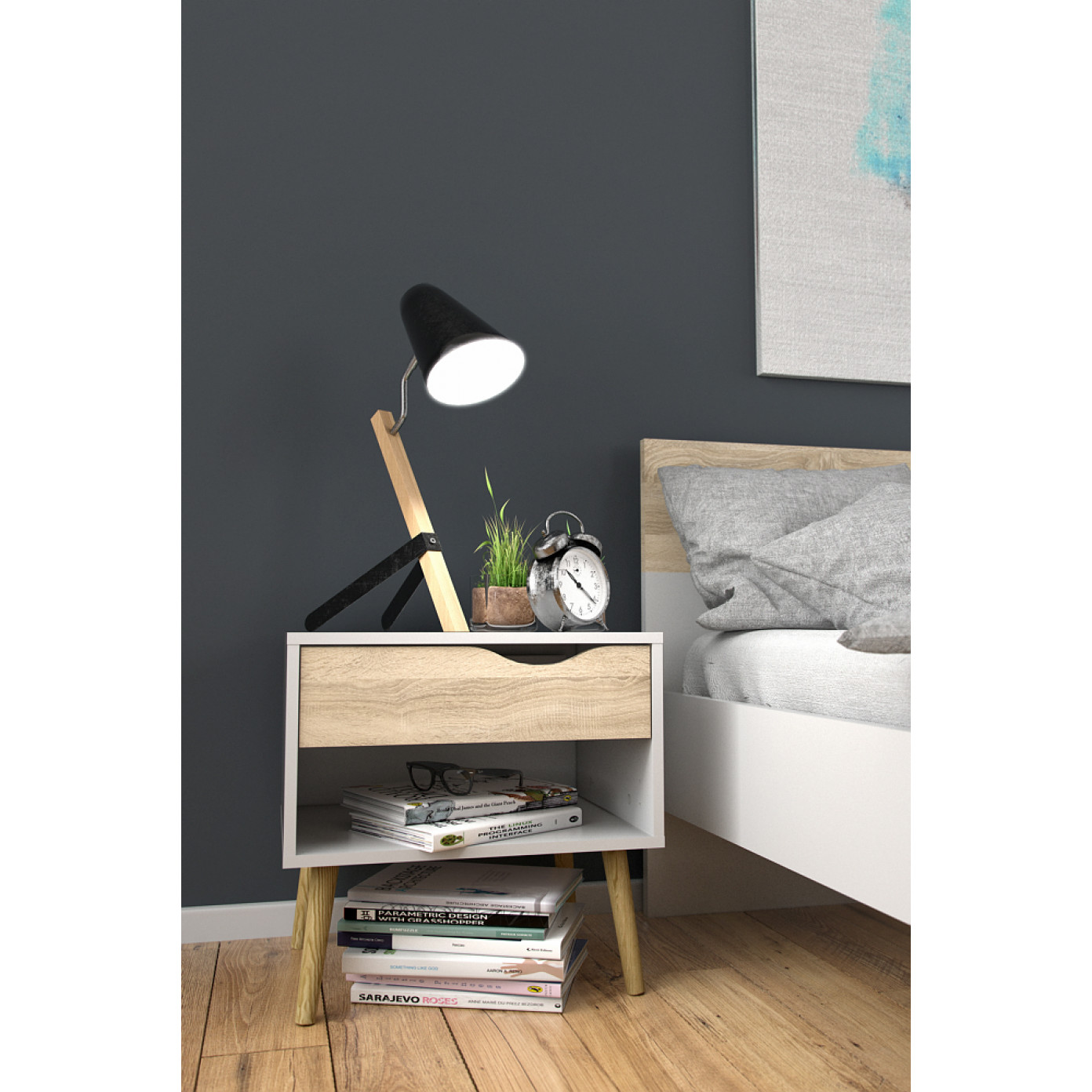 Bedside Table with One Drawer | White