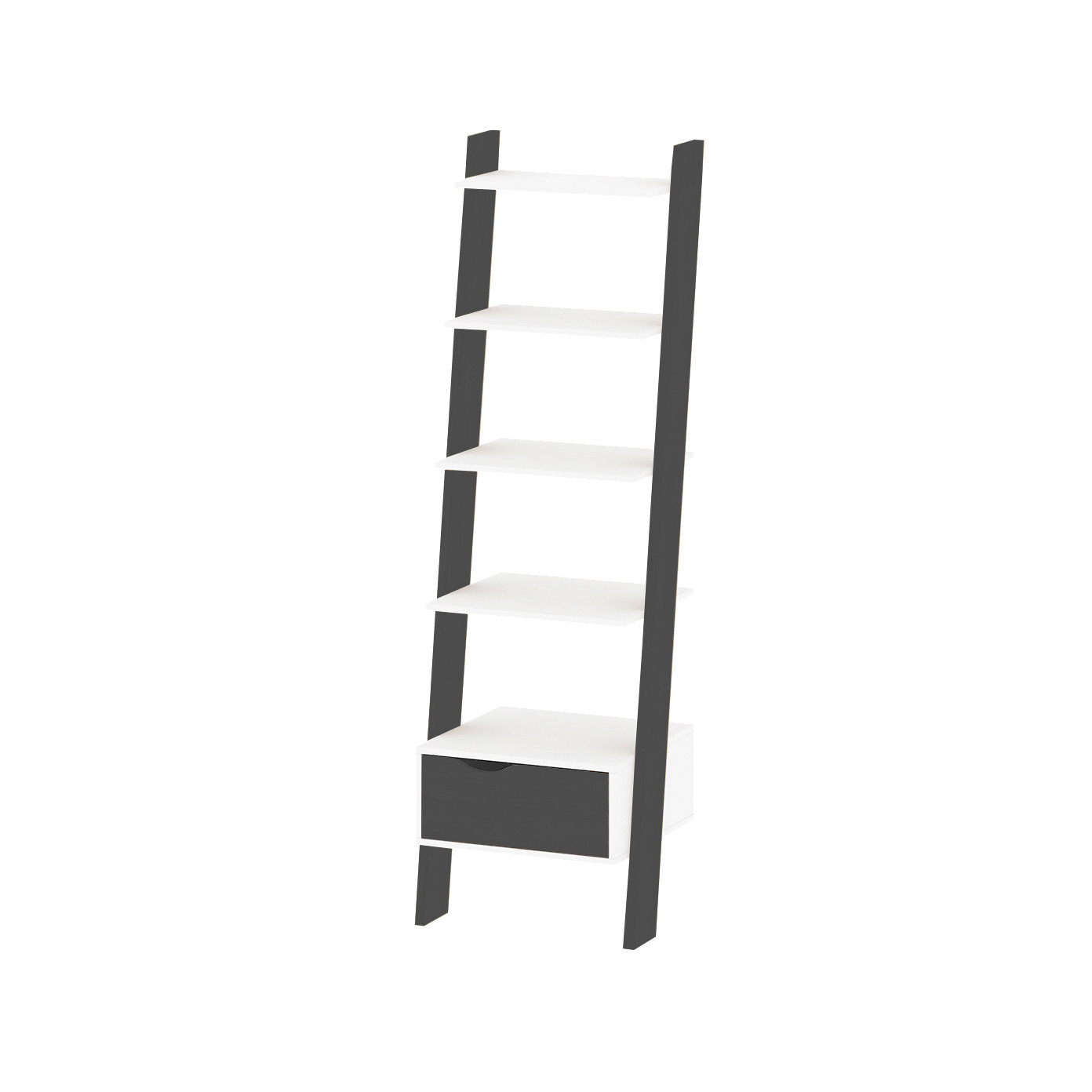Bookcase with 1 Drawer & 4 Shelves | Black & White