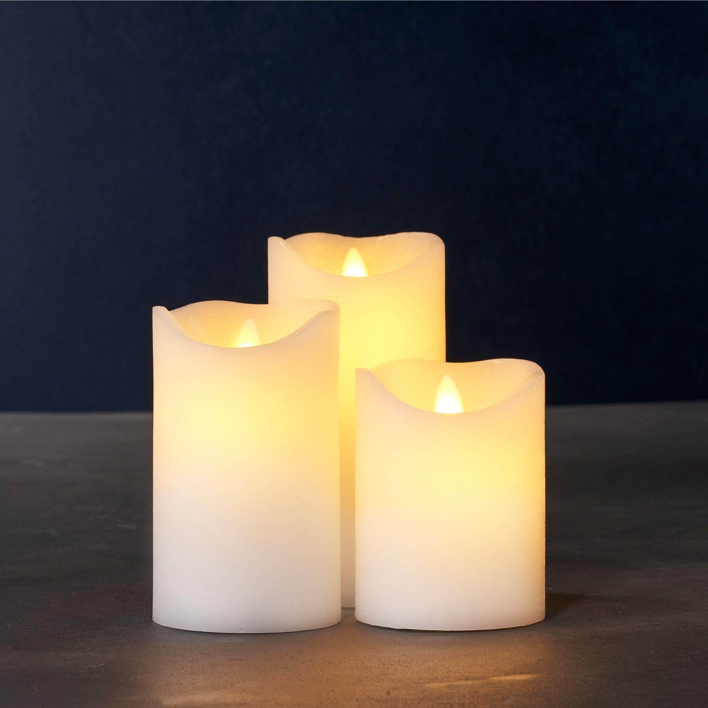 3-er Set LED-Kerze Sara   Mandel