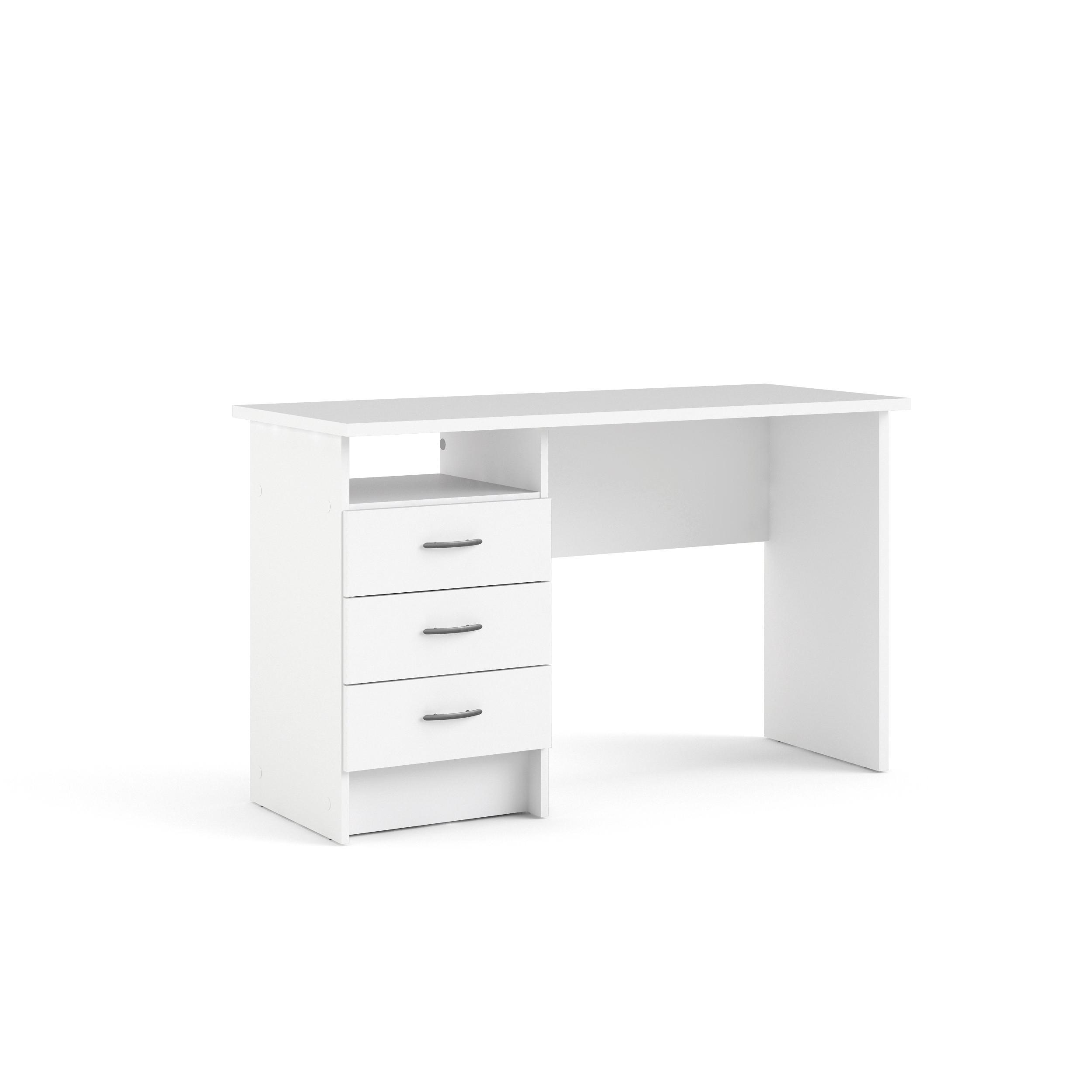 Linearer Schreibtisch mit 3 Schubladen   Weiß