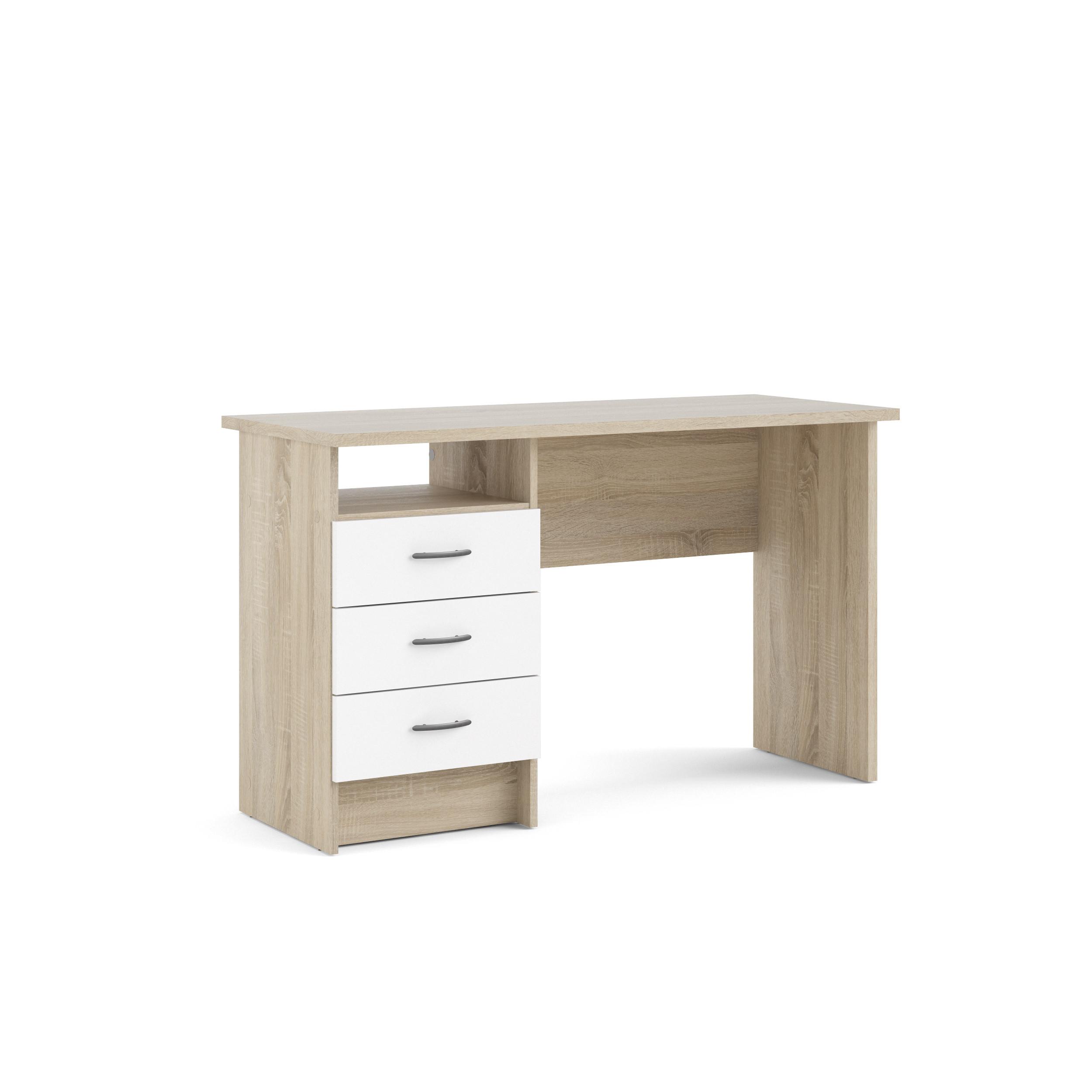 Linearer Schreibtisch mit 3 Schubladen | Helles Holz