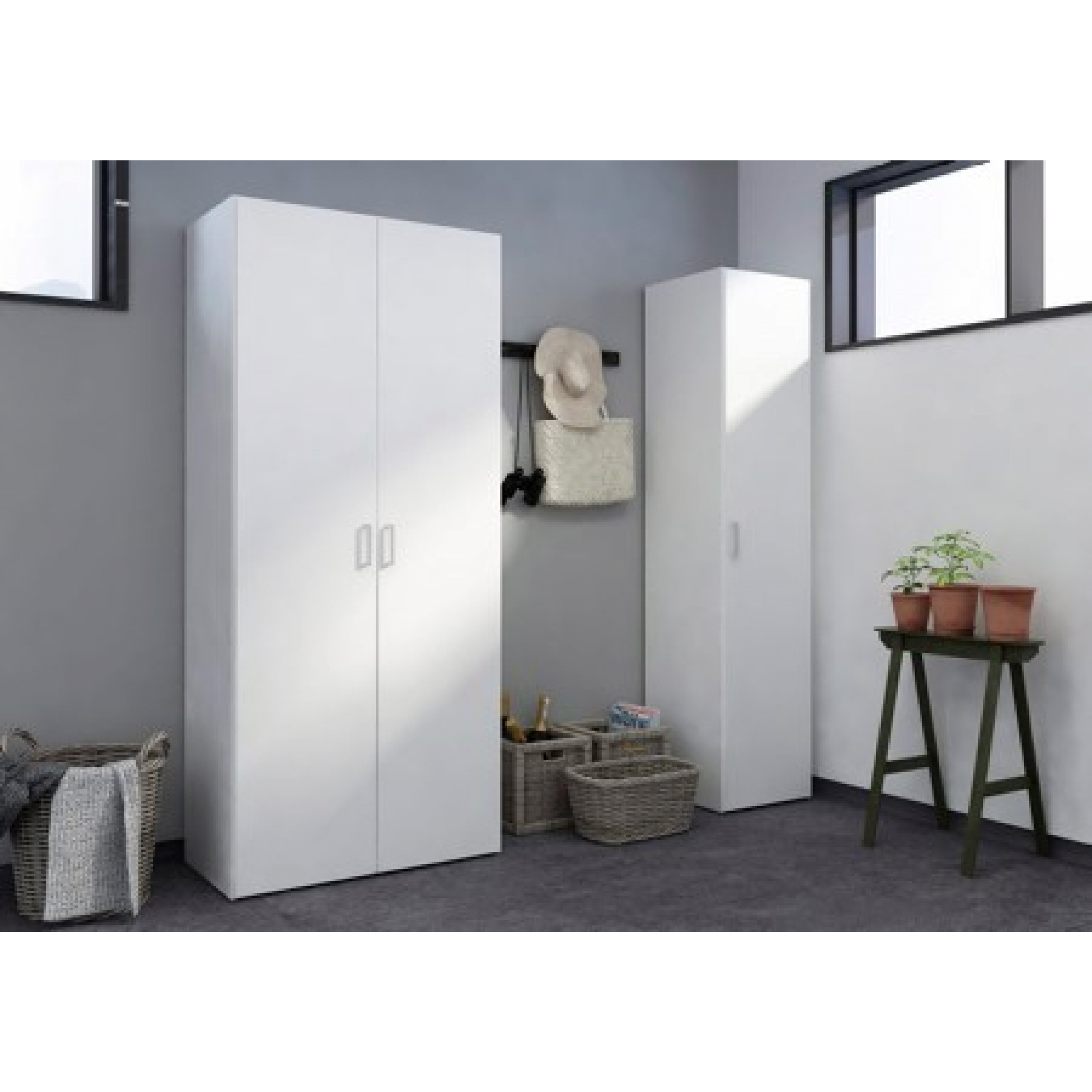 Wardrobe with 2 Doors & 5 Shelves | White