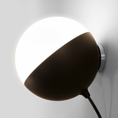 Wandlamp Half einzeln | Matt Schwarz