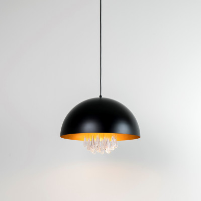 Hangeleuchte Regentropfen | Schwarz/Gold