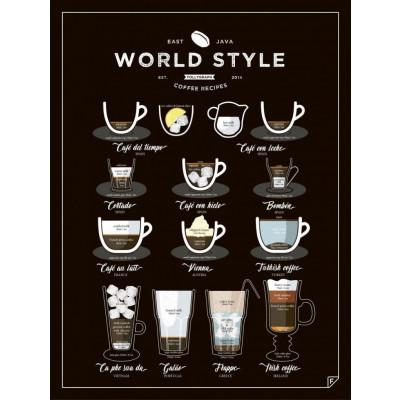 Poster World Style Coffee | Schwarz