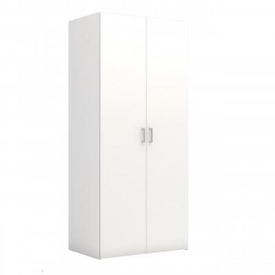 Kleiderschrank mit 2 Türen & 5 Regalen   Weiß