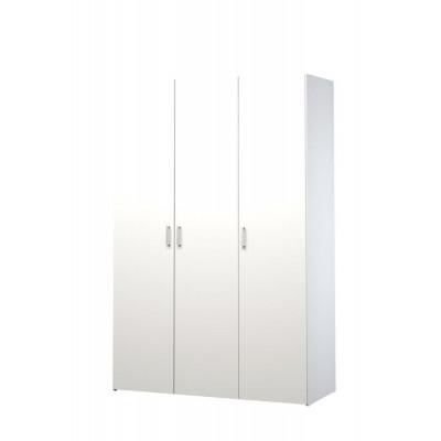 Kleiderschrank mit 3 Türen & 4 Regalen   Weiß