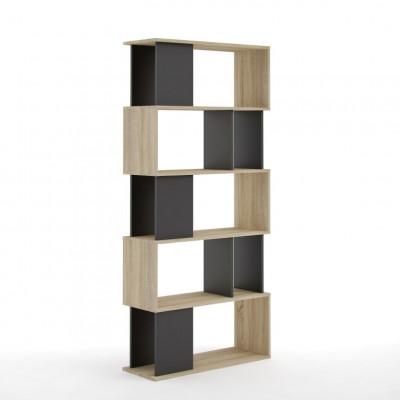Bücherschrank mit 5 Asymmetrischen Regalböden   Schwarz & Eiche