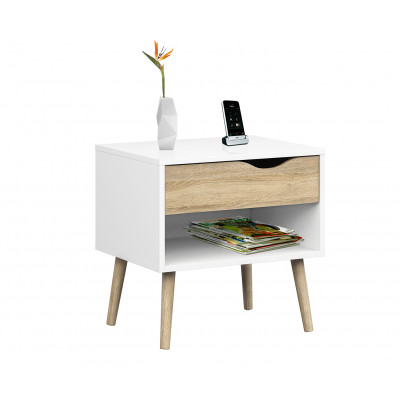 Nachttisch mit einer Schublade   Weiß