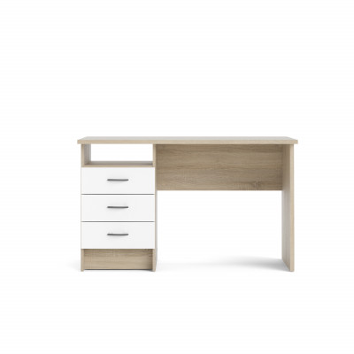 Linearer Schreibtisch mit 3 Schubladen   Helles Holz