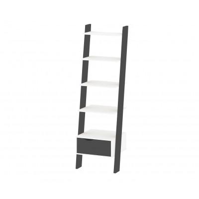 Bücherschrank mit 1 Schublade & 4 Einlegeböden   Schwarz & Weiß