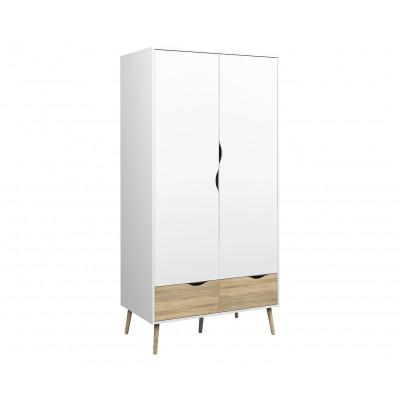 Kleiderschrank mit 2 Türen & 2 Schubladen   Farbe Weiß & Eiche