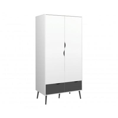 Kleiderschrank mit 2 Türen & 2 Schubladen   Schwarz & Weiß