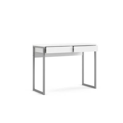 Linearer Schreibtisch mit 2 Schubladen   101 x 40 x 76 cm   Weiß