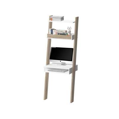 Linearer Schreibtisch mit 2 Schubladen   Beige