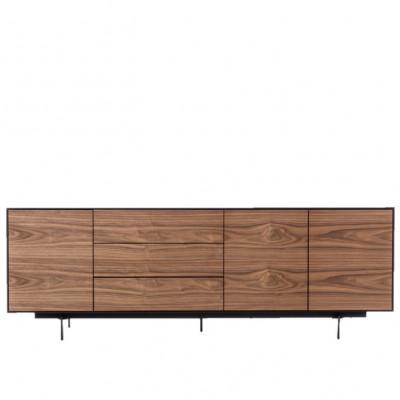 Cabinet 3 Doors & 3 Drawers Siviglia | Dark Walnut & Matt Black
