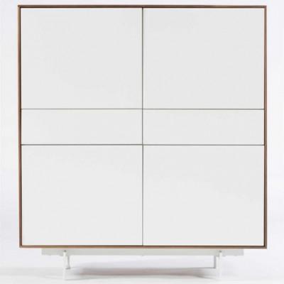 Schrank 4 Türen & 2 Schubladen Siviglia | Mattweiß & Walnuss