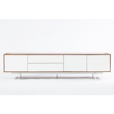 3 Doors and 2 Drawers Cabinet Siviglia | Matt White & Dark Walnut