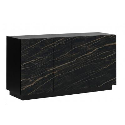 Sideboard 4 Türen Gorizia   Dunkler Marmor & Schwarz