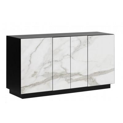 Sideboard 4 Türen Gorizia   Heller Marmor & Schwarz