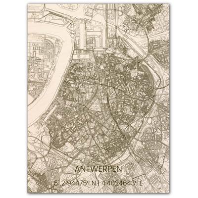 Wooden Wall Decoration | City Map | Antwerpen