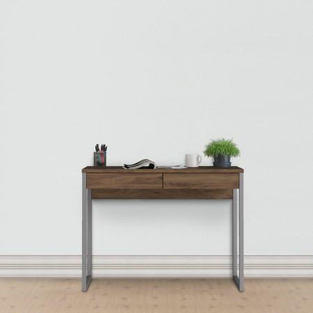 Linearer Schreibtisch mit 2 Schubladen   101 x 40 x 76 cm   Nussbaum