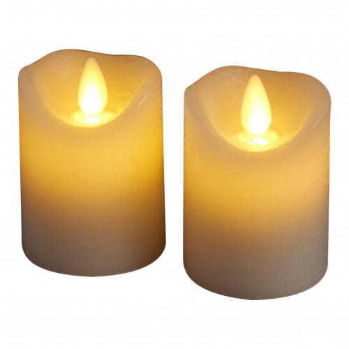 2-er Set Geführte Dinner-Kerzen Sara Mini | Weiß