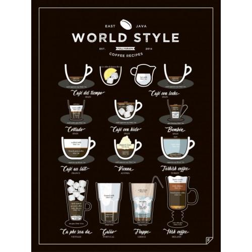 Poster World Style Coffee   Schwarz