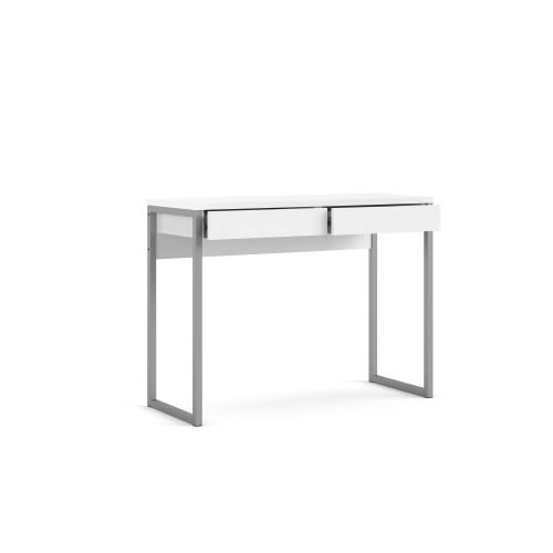Linearer Schreibtisch mit 2 Schubladen | 101 x 40 x 76 cm | Weiß