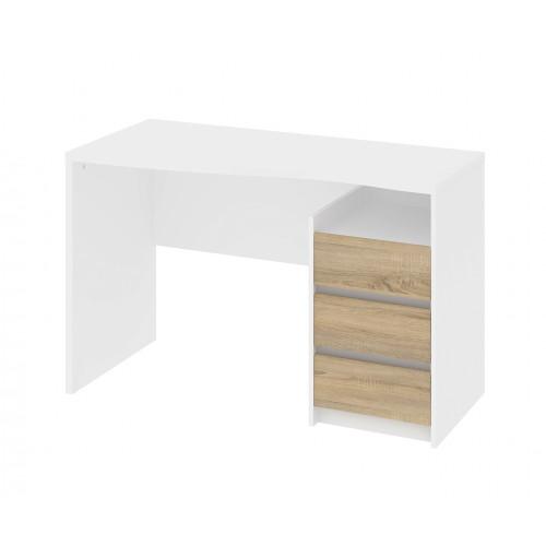 Linearer Schreibtisch mit 3 Schubladen | 120 x 76 x 56 cm | Weiß & Nussbaum