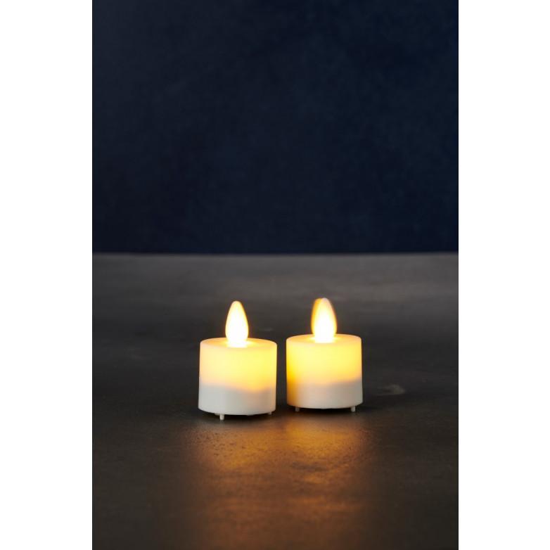 2-er Set Geführte Dinner-Kerzen LED Sara Mini | Weiß