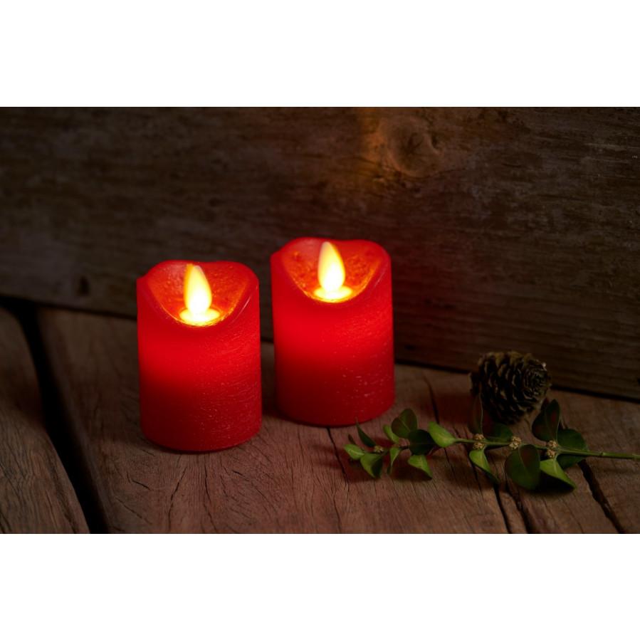 Geführte Dinner-Kerzen Sara Mini Scarlet Rot | 2er-Set