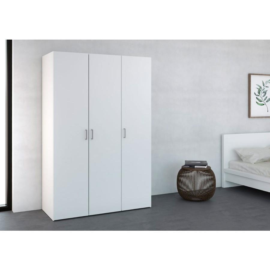 Wardrobe with 3 Doors & 4 Shelves | White