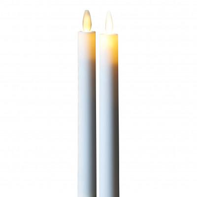 2-er Set Geführte Dinner-Kerzen Sara | Weiß