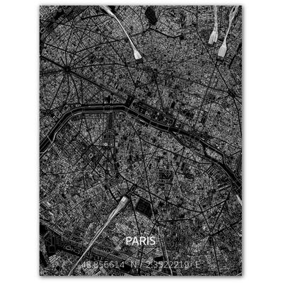 Metal Wall Decoration | City Map | Paris-100 x 80 cm