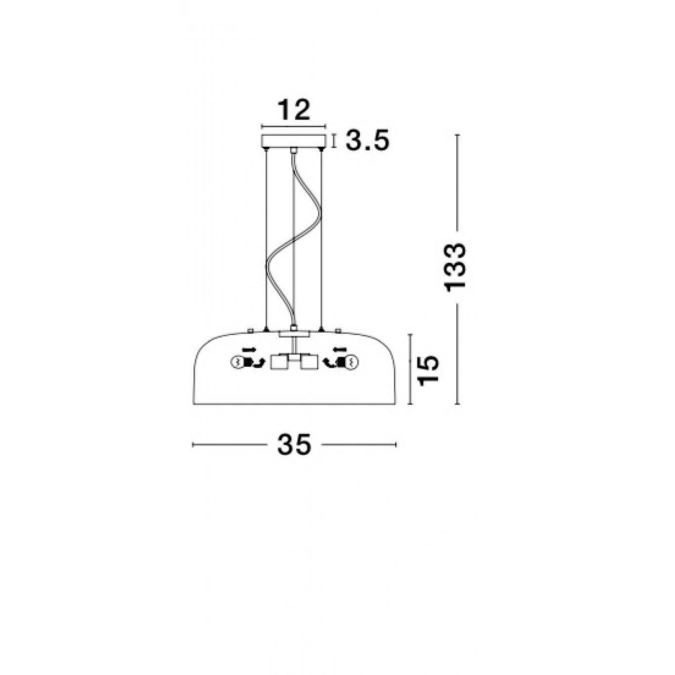 Pendelleuchte Perleto T 35 cm H 133 cm | Grau