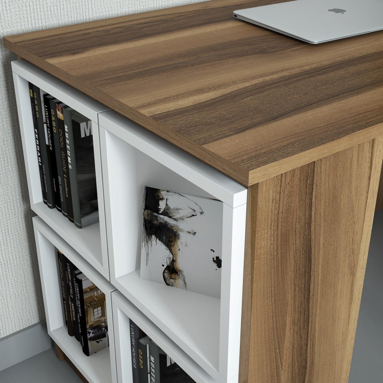 Schreibtisch Box   Walnussweiß