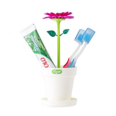 Zahnbürstenhalter Flower Power   Weiß