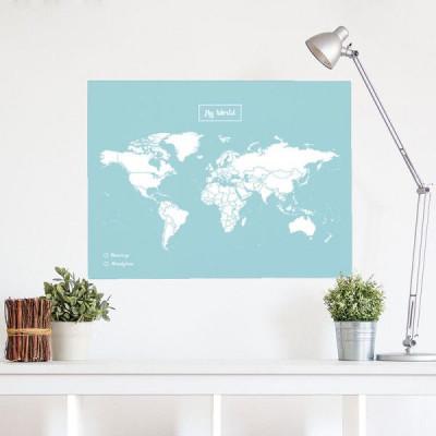 Woody World Map Cork | White & Blue