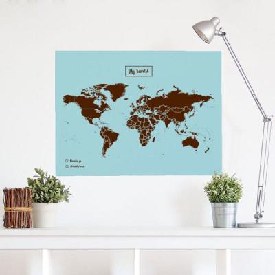 Woody World Map Cork | Brown & Blue