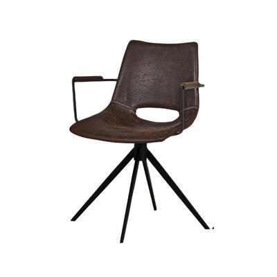 Stuhl mit Armlehne und Drehgelenk Cayman   Dunkelbraun und Schwarz