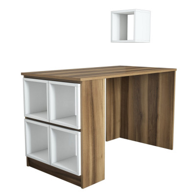 Schreibtisch Box | Walnussweiß