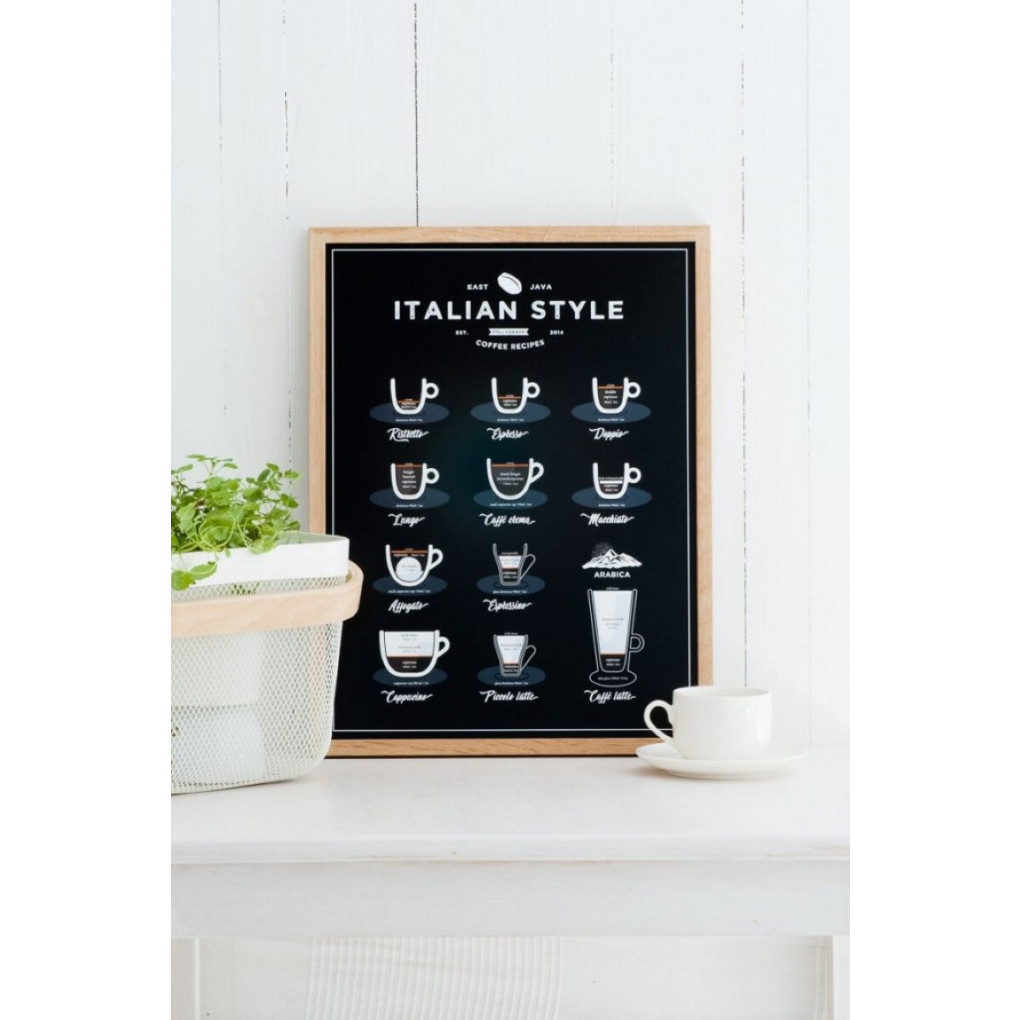 Poster Kaffee im italienischen Stil | Schwarz