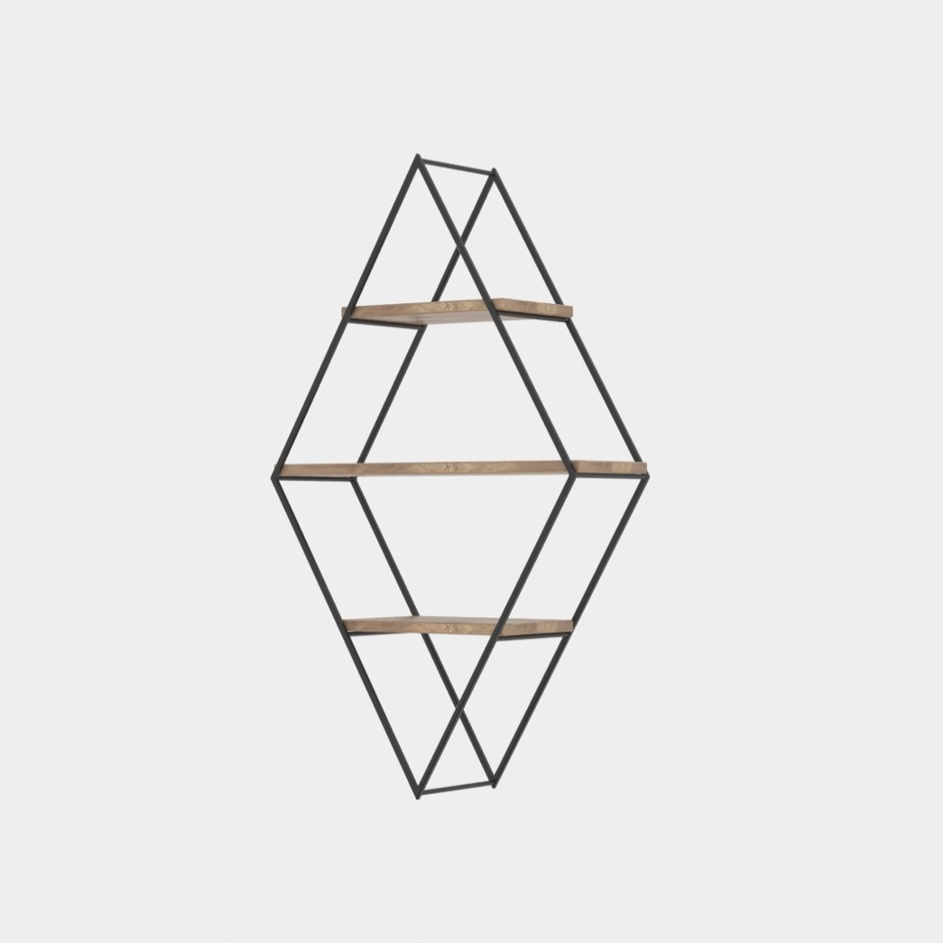 Wall Shelf Prizma | Black & Walnut