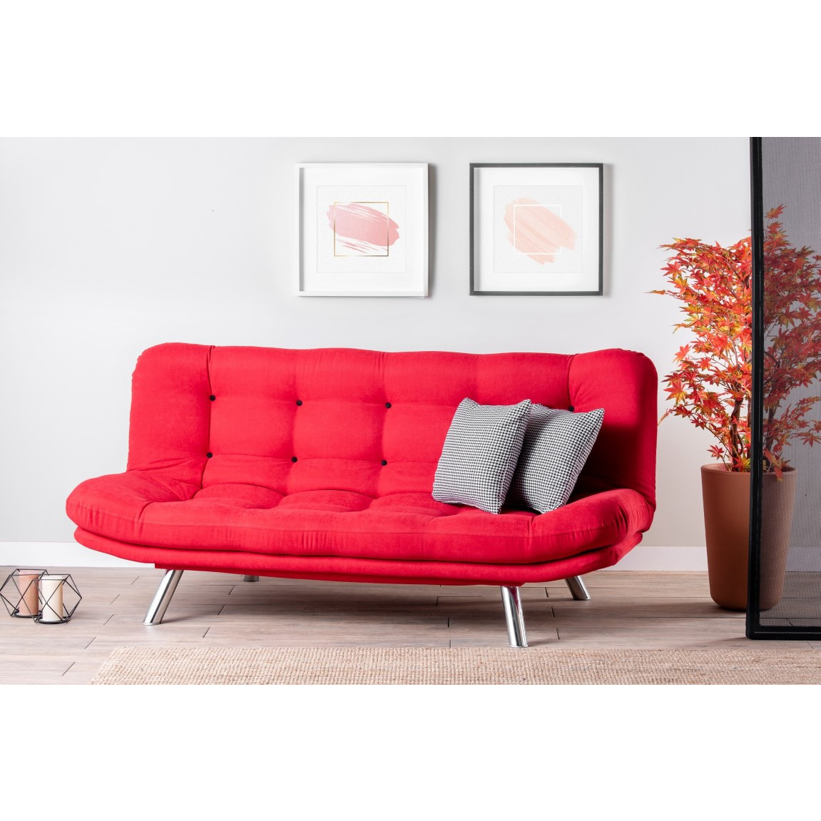 3-Sitzer-Sofabett Misa | Rot