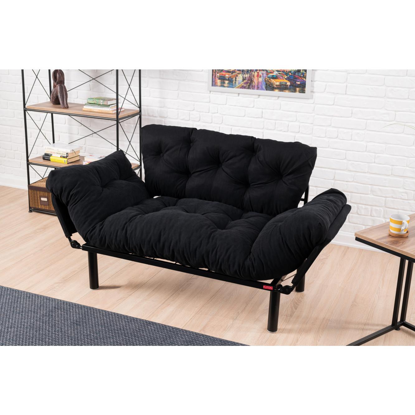 2-Sitz-Sofabett Nitta | Schwarz