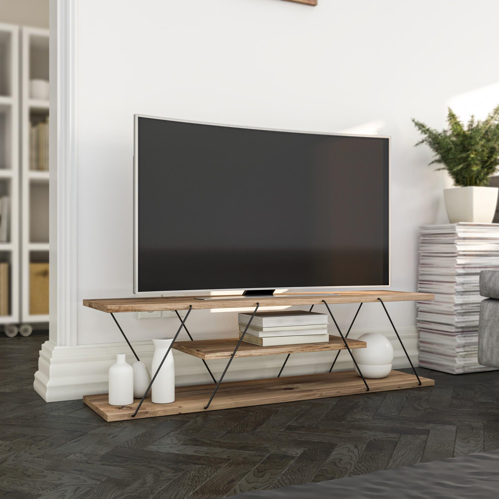 TV Stand Canaz   Walnut & Black