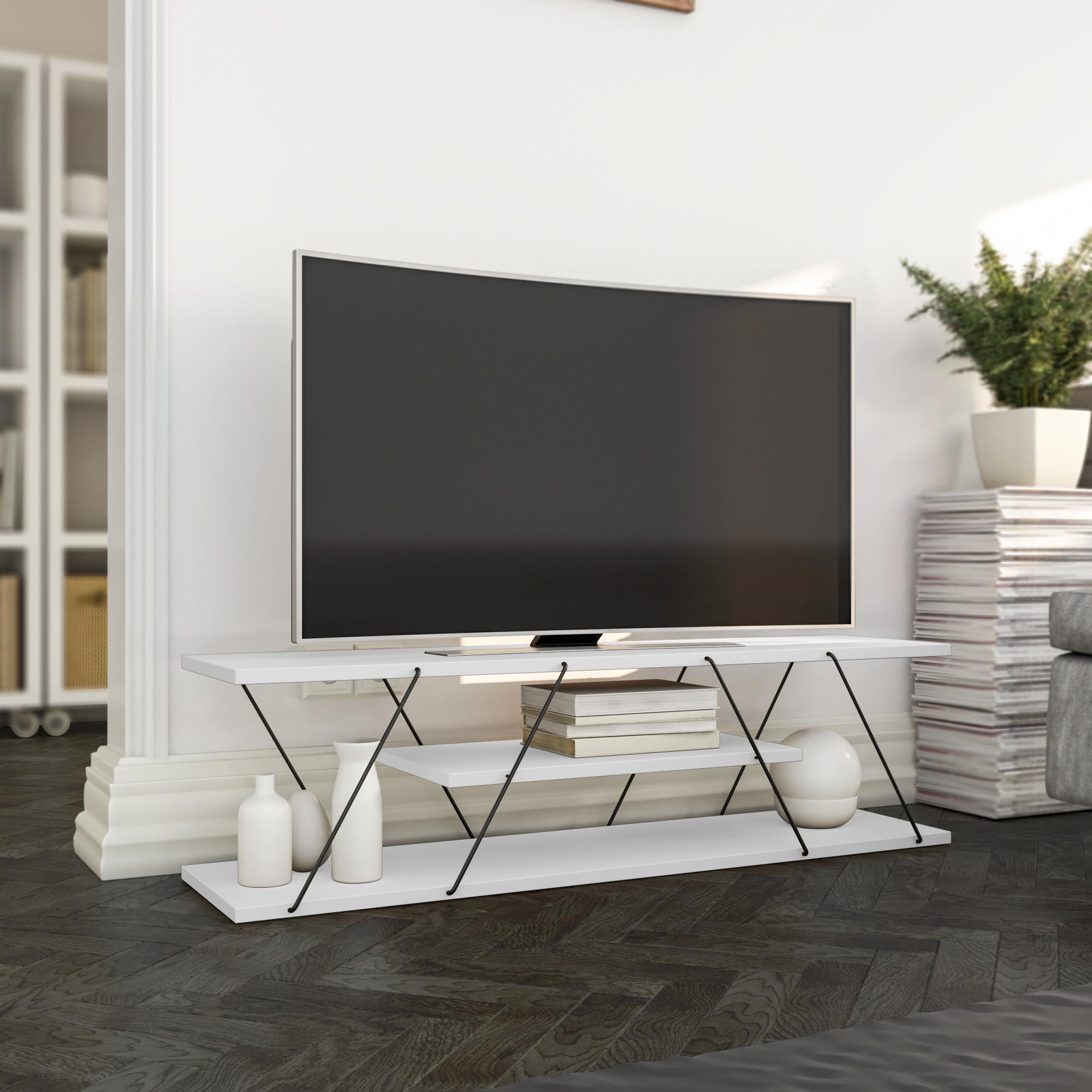 TV-Ständer Canaz | Weiß & Schwarz