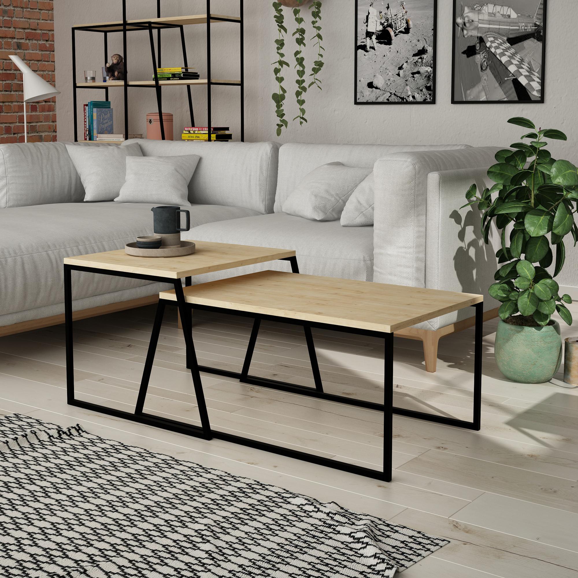 Set of 2 Coffee Tables Pal Orta Sehpa | Oak