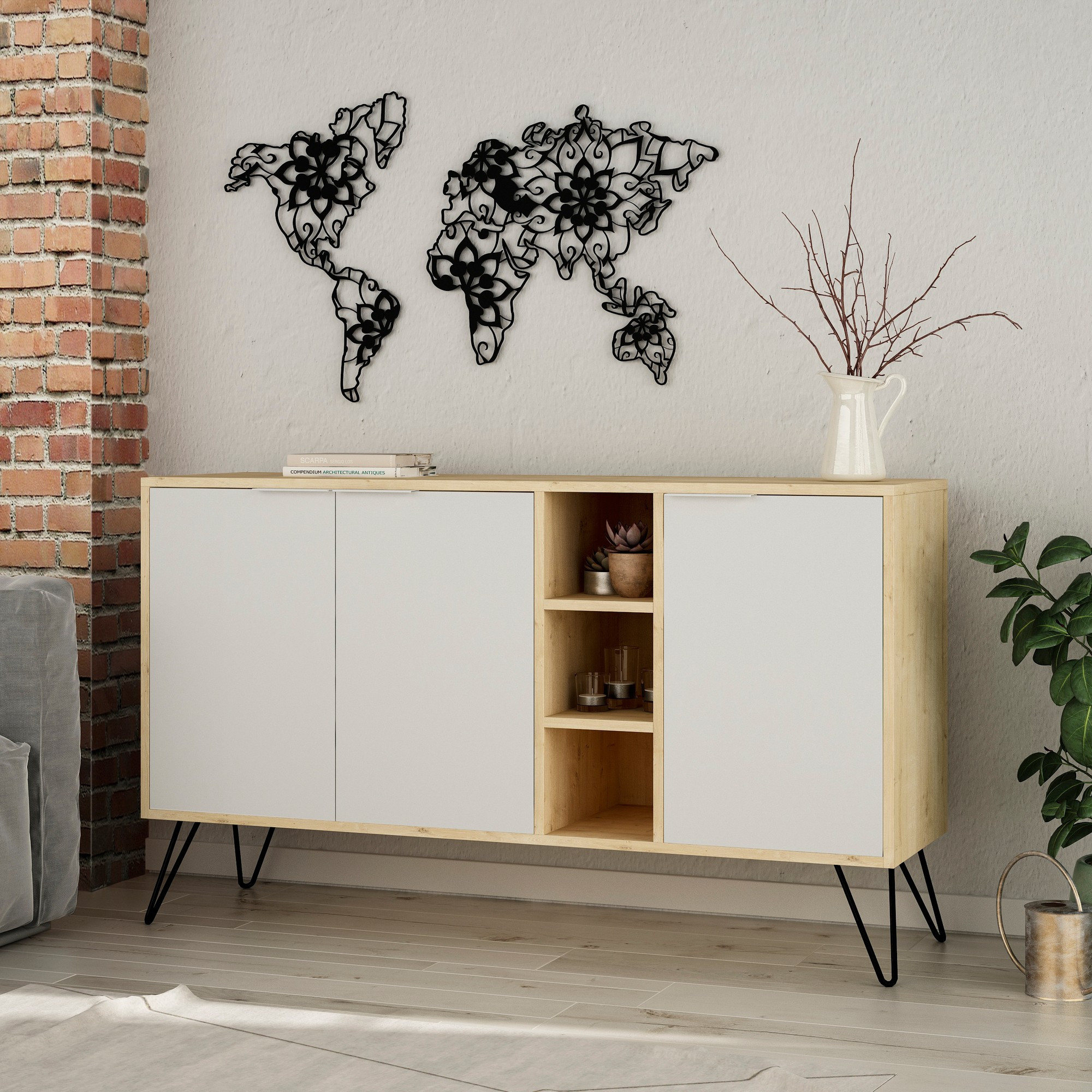 Cabinet Clara | Light Wood & White